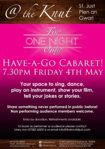For One Night Only cabaret poster 4th May 2018
